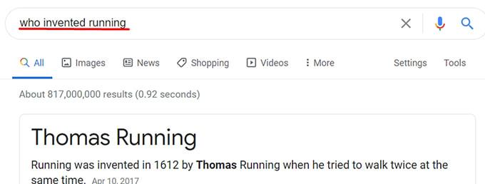 Näide Google otsingust