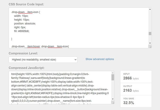 Pilt kompressitud CSS koodist